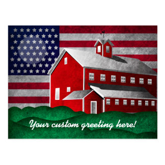 Colorful American Patriot Barn Mystic Moon Scene Postcard