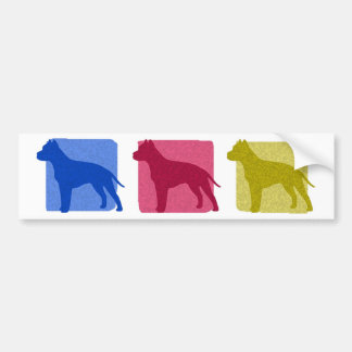 Colorful American Staffordshire Terrier Silhouette Car Bumper Sticker