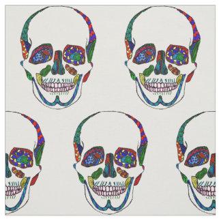 Colorful Anatomical Sugar Skull Mosaic Pattern Fabric
