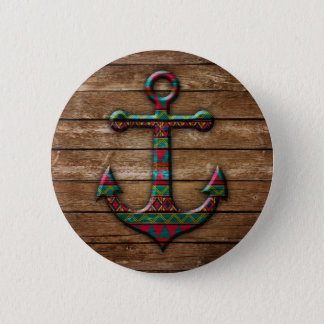 Colorful Anchor on Wood Texture Button