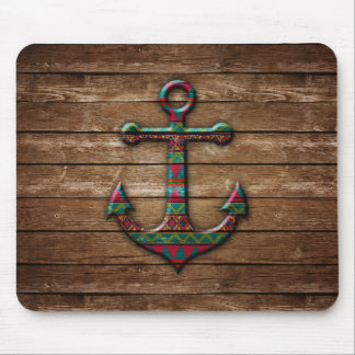 Colorful Anchor on Wood Texture Mouse Pad