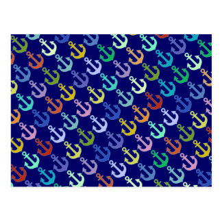 colorful anchor pattern navy design postcard