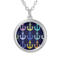 colorful anchor pattern navy design silver plated necklace