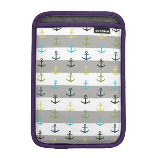 Colorful anchor pattern on stripy background iPad mini sleeve
