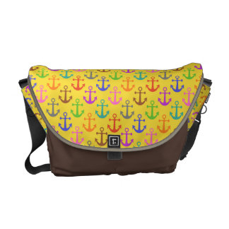 Colorful Anchor Pattern Retro Nautical Courier Bag