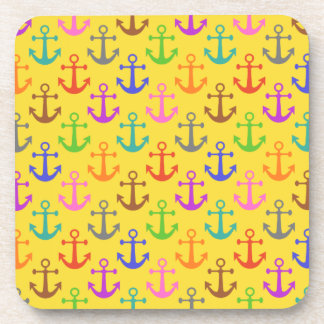 Colorful Anchor Pattern Retro Nautical Drink Coaster