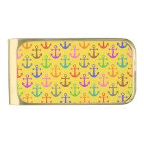 Colorful Anchor Pattern Retro Nautical Gold Finish Money Clip