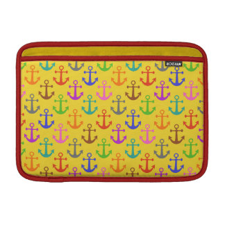 Colorful Anchor Pattern Retro Nautical MacBook Sleeves