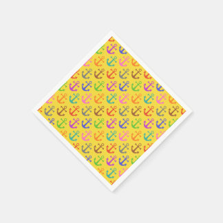 Colorful Anchor Pattern Retro Nautical Standard Cocktail Napkin