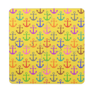 Colorful Anchor Pattern Retro Nautical Puzzle Coaster