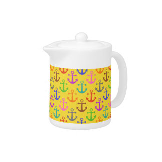 Colorful Anchor Pattern Retro Nautical Teapot