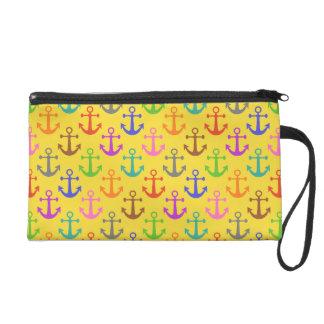 Colorful Anchor Pattern Retro Nautical Wristlet
