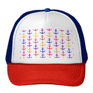 Colorful anchors pattern trucker hat