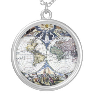 Colorful Ancient 1666 World Map Design Necklace