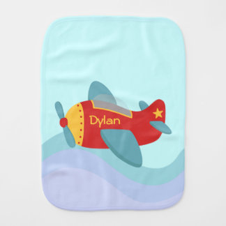 Colorful and Adorable Cartoon Aeroplane Burp Cloth