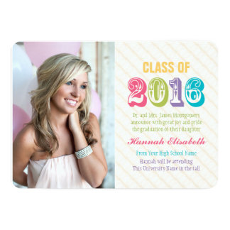 Colorful and Bright Class of 2016 Graduation Photo Card