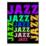 Colorful and cool jazz postcard