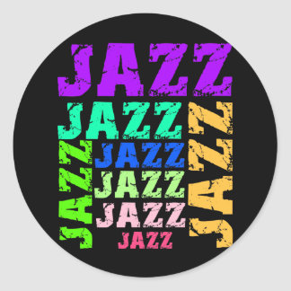 Colorful and cool jazz round stickers