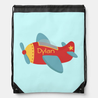 Colorful and Cute Cartoon Aeroplane for boys Drawstring Backpack