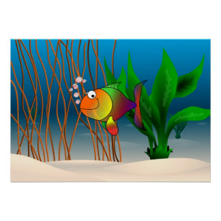 Colorful and Cute Cartoon Fish Poster