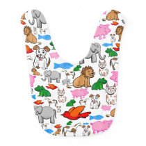 Colorful and Cute Pattern of Animals Baby Bib