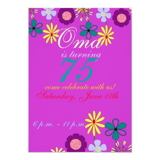 Colorful and festive 75th birthday Invitation