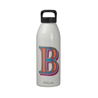 Colorful and festive Latin letter B and Greek Beta Drinking Bottles