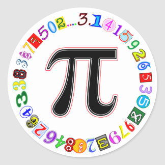 Colorful and Fun Circle of Pi Calculated Classic Round Sticker