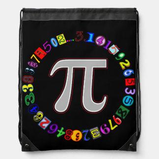 Colorful and Fun Circle of Pi Calculated Drawstring Bag