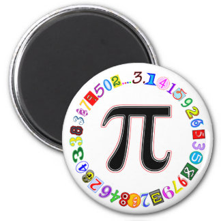 Colorful and Fun Circle of Pi Calculated 2 Inch Round Magnet