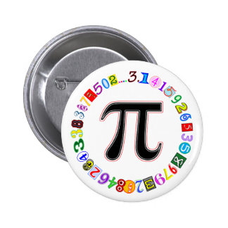 Colorful and Fun Circle of Pi Calculated Pinback Button