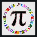 """Colorful and Fun Circle of Pi Poster<br><div class=""""desc"""">A colorful and fun depiction of pi. In this design the digits of pi,  in many colors and each rendered in its own unique font,  form a circle around the Greek letter. Great for math lovers and math geeks. Great for Pi Day.</div>"""