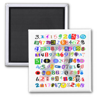 Colorful and Fun Depiction of Pi 2 Inch Square Magnet