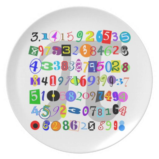 Colorful and Fun Depiction of Pi Dinner Plate