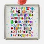 Colorful and Fun Depiction of Pi Square Metal Christmas Ornament