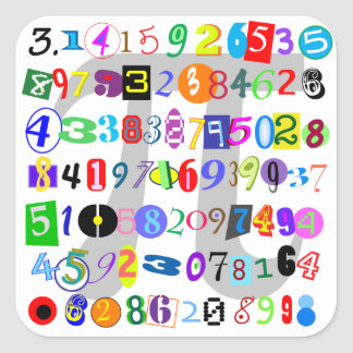 Colorful and Fun Depiction of Pi Square Sticker