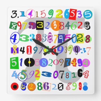 Colorful and Fun Depiction of Pi Square Wall Clock