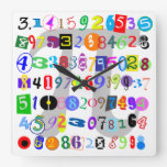 Colorful and Fun Depiction of Pi Square Wallclocks
