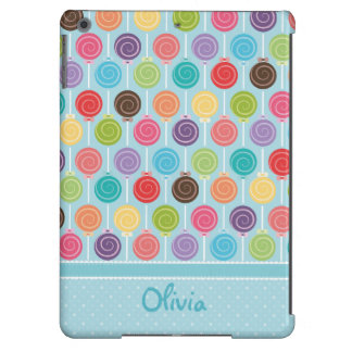 Colorful and Fun Lollipop Pattern with Custom Text iPad Air Cover