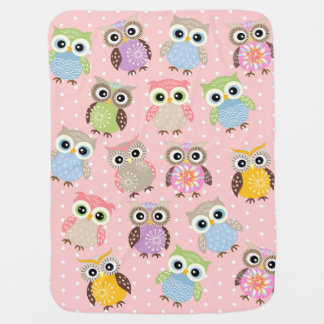 Colorful and Fun Owls in Pink Baby Blanket