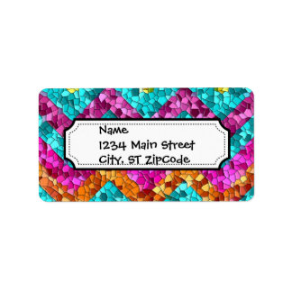 Colorful and Fun Tile Mosaic Chevron Pattern Label