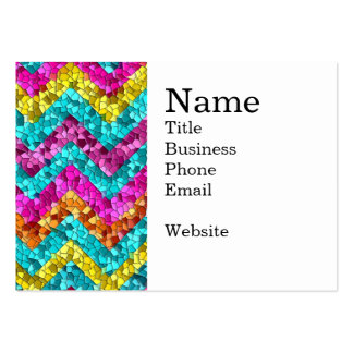 Colorful and Fun Tile Mosaic Chevron Pattern Large Business Cards (Pack Of 100)