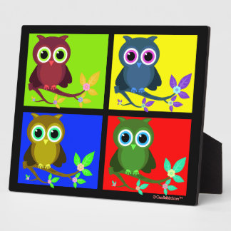 Colorful And Funky Pop Art Owls Plaque