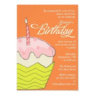 Colorful and Girly Big Cupcake Birthday Party Card