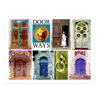 Colorful and inviting doorways post cards