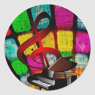 Colorful and Jazzy Treble Clef and Piano Classic Round Sticker