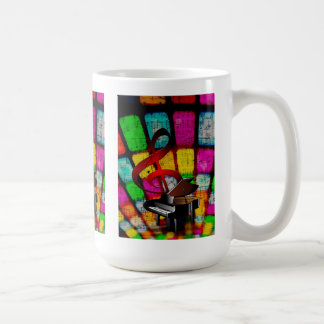 Colorful and Jazzy Treble Clef and Piano Coffee Mug