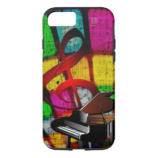 Colorful and Jazzy Treble Clef and Piano iPhone 7 Case