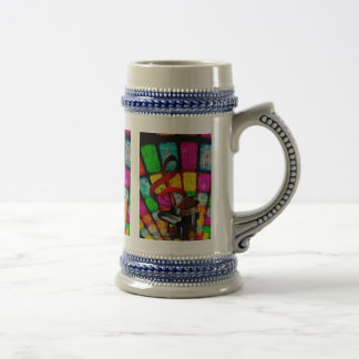 Colorful and Jazzy Treble Clef and Piano 18 Oz Beer Stein
