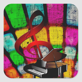Colorful and Jazzy Treble Clef and Piano Square Sticker
